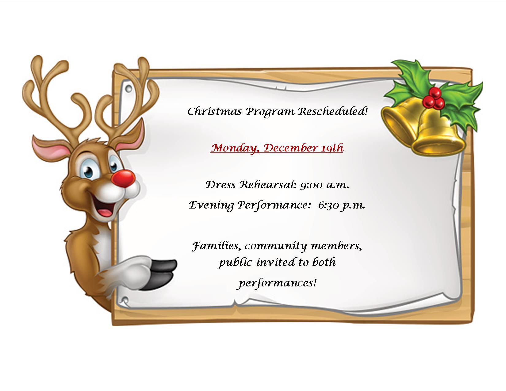 christmas program rescheduled